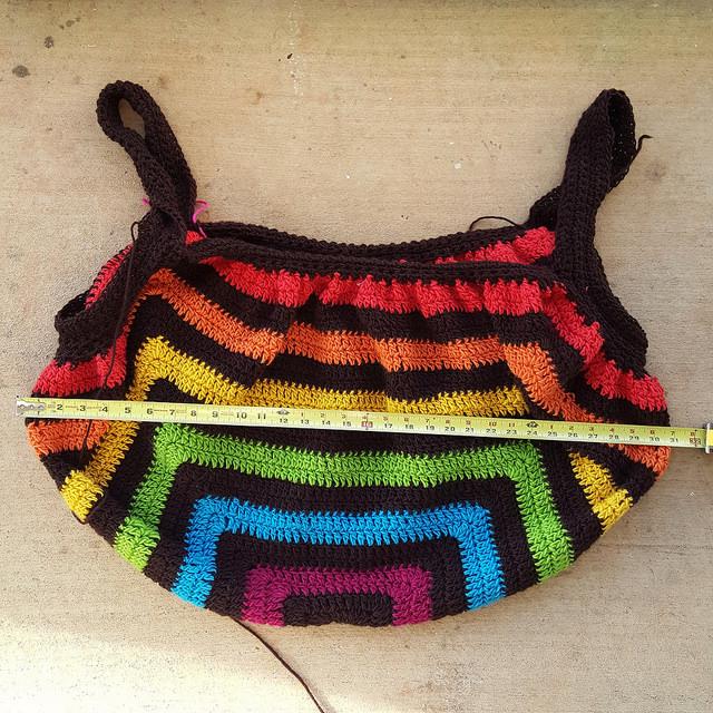 Wool crochet granny square purse WIP (ed) into shape