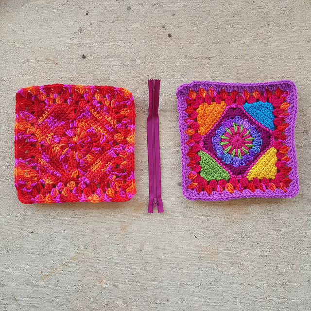 two granny squares for a crochet bag