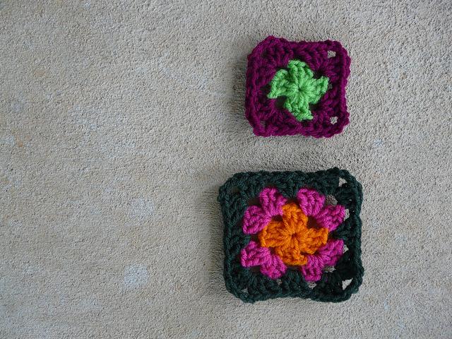 four crochet square granny square