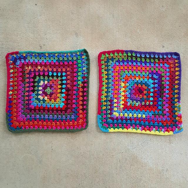 scrap yarn granny squares