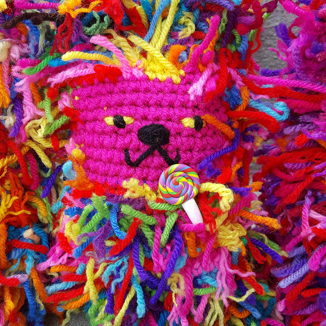 crochetbug, scrap yarn crochet cat, amigurumi cat, crochet toy, lollipop