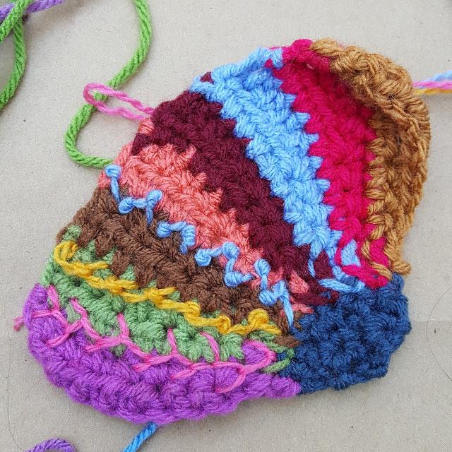 crochetbug, crochet crazy quilt pieces, embroidery on crochet