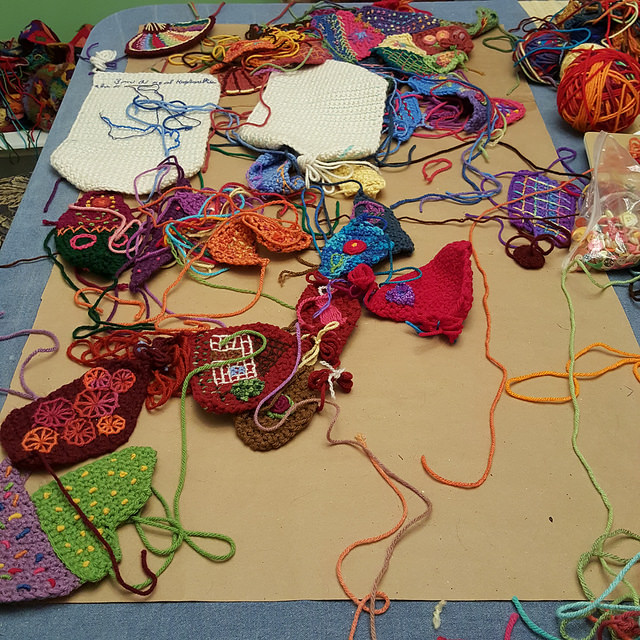 I hit table top for assembling the crochet crazy quilt panel