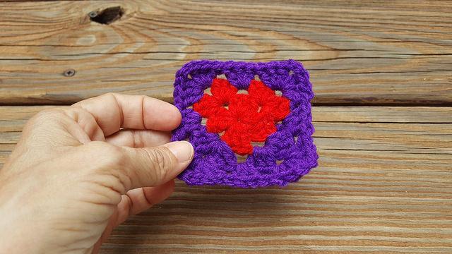 a graphic crochet heart granny square