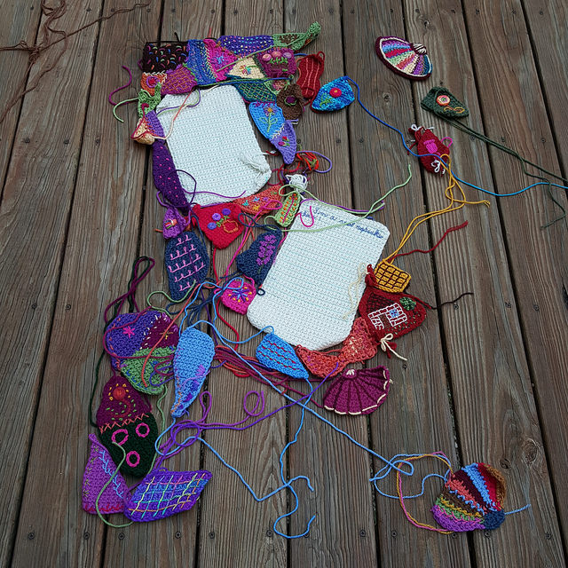 The pieces of the crochet crazy quilt center panel after I had finished the deep dig