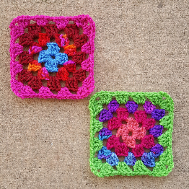 two scrap yarn four round granny squares