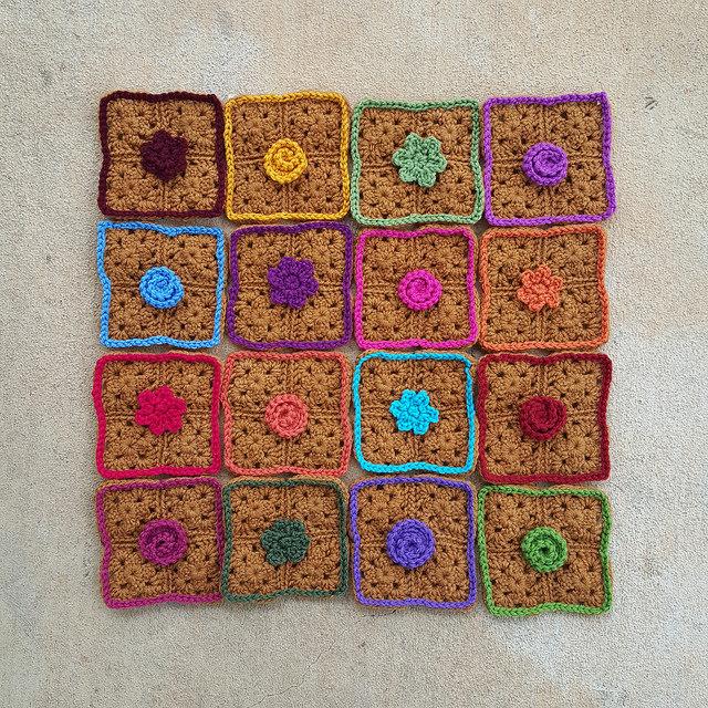 crochetbug, crochet roses, crochet flowers, textured crochet flowers, crochet squares, granny squares