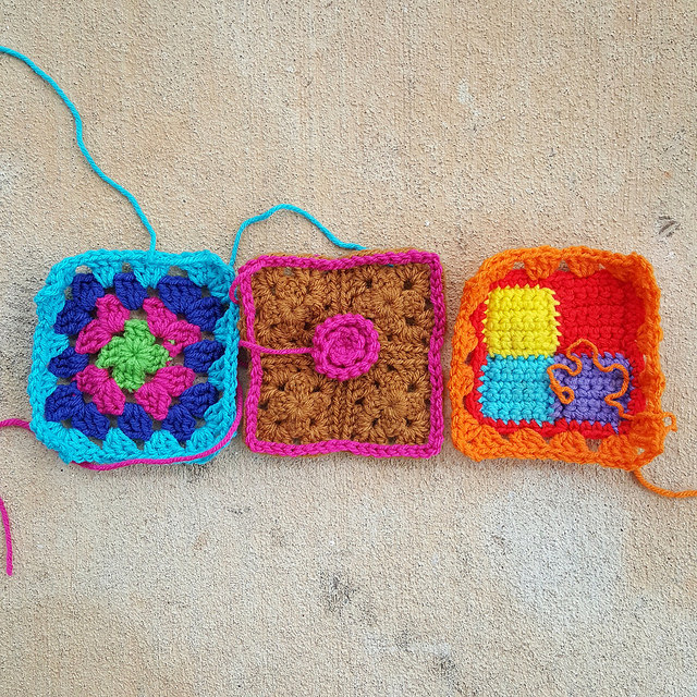 A trio of five-inch crochet squares