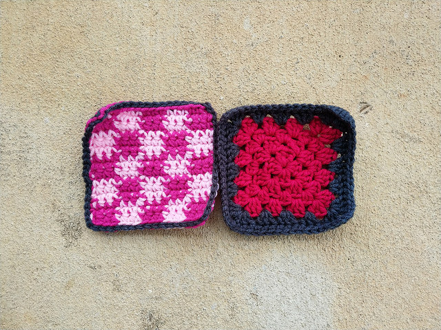 """Two more rehabbed five-inch crochet squares where I learn to """"use what you have"""""""