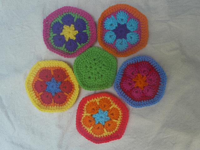 five crochet hexagons and one crochet pentagon to form a panel of a crochet soccer ball