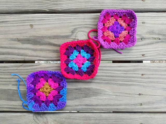three four round crochet granny squares