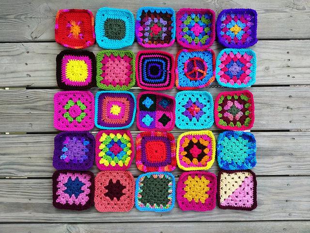 twenty-five multicolor crochet squares