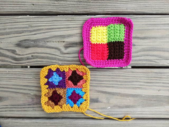 two four patch crochet squares