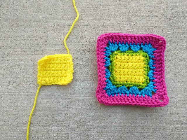 A slightly larger single crochet square center