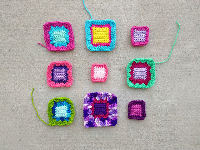 Progress on my front-burner nine-patch of crochet squares