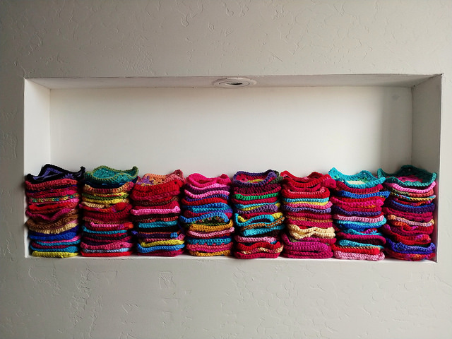 The nook in the wall with  232 crochet squares