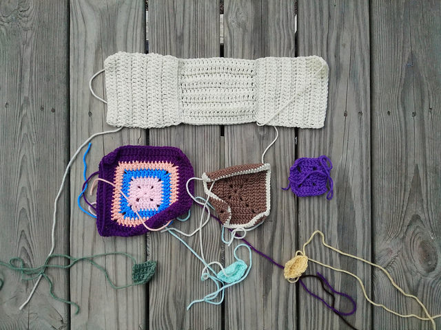 A new nine-patch of crochet remnants ready for rehab
