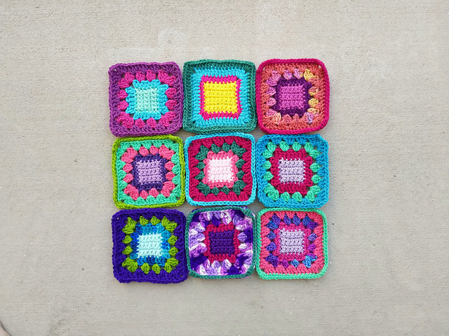 A nine-patch of rehabbed crochet squares