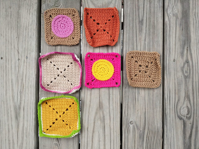 Six of the crochet remnants rehabbed and ready for adventure