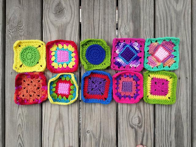 Ten crochet remnants transformed into five-inch crochet squares