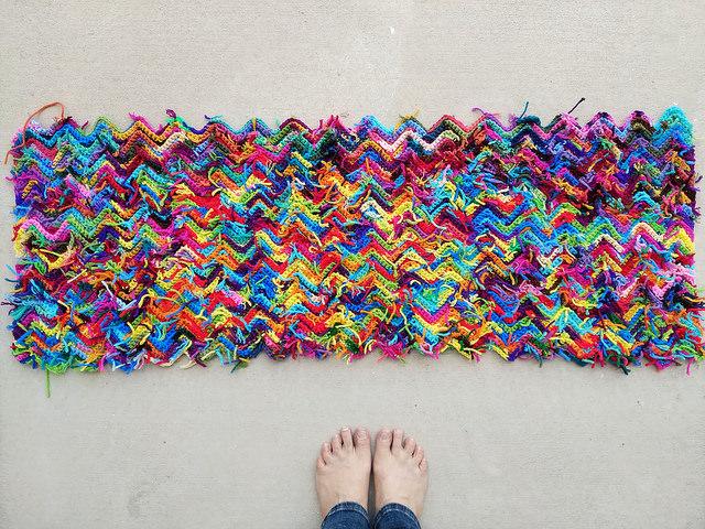 Some yarn scraps for the ripple scrap yarn afghan