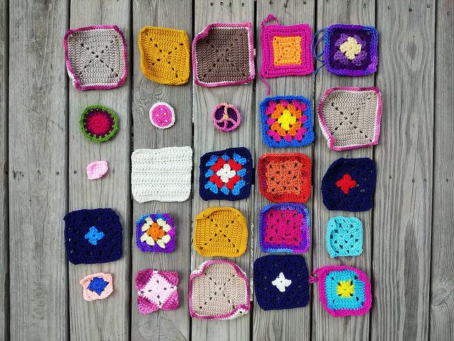 The twenty-five crochet remnants transforming into crochet squares