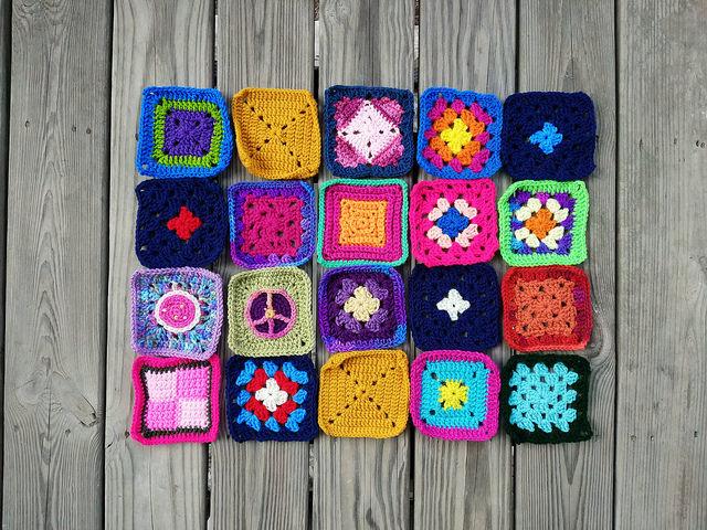 Twenty five-inch rehabbed crochet squares
