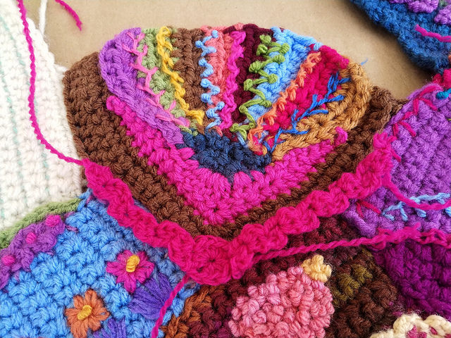 Some crochet rickrack to help ratchet up the embroidery to over the top