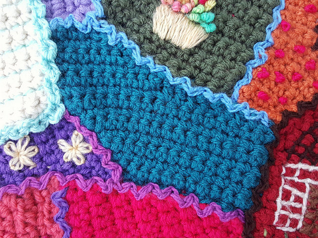 A crochet crazy quilt piece in need of a crochet locket