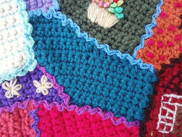 A crochet crazy quilt piece in need of a crochet locket