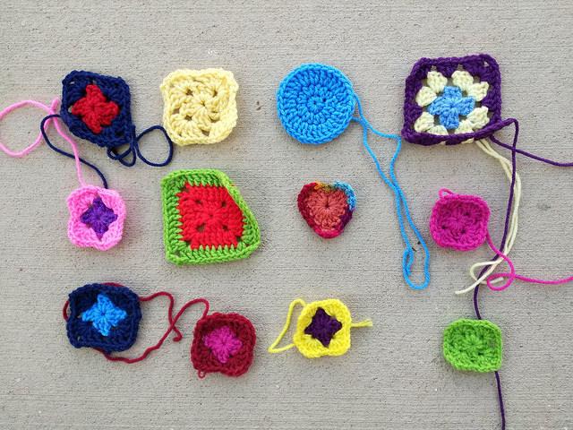 A dozen new crochet remnants ready for rehab