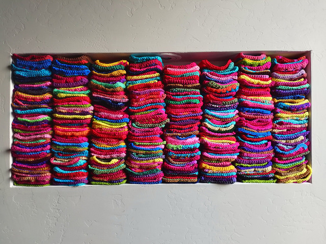 A nearly full nook of rehabbed crochet squares