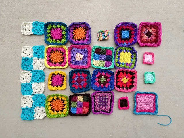 Eighteen of the twenty-four crochet remnants rehabbed and ready to go toward the remaining goal of 544