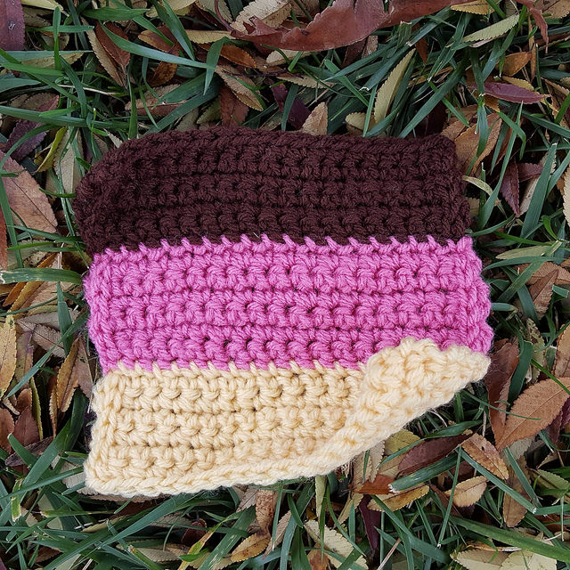 A future six-inch crochet square with a Neapolitan flair made on a long and exhausting day