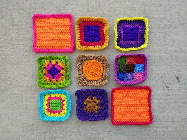 Nine rehabbed crochet squares ready for adventure