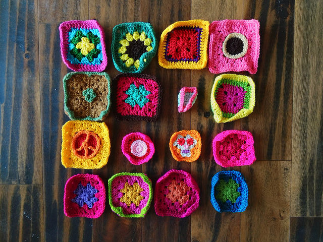 Sixteen crochet remnants mid rehab
