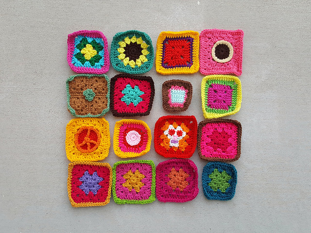 The rehabbed crochet squares shortly before sunset