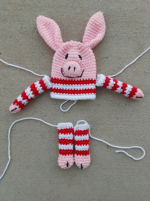Progress on my Olivia inspired crochet pig