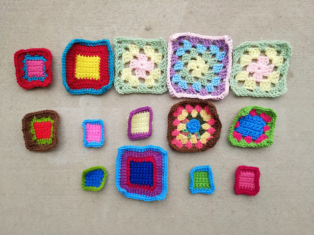 My progress on the fifteen crochet remnants shortly before noon
