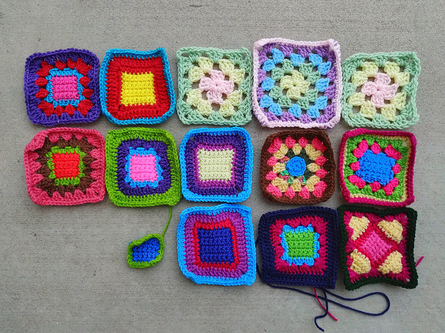 My progress on the fifteen crochet remnants shortly before sunset