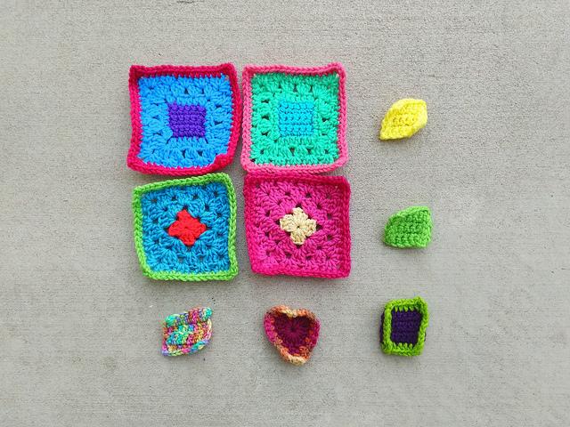 My progress on the new nine patch of crochet remnants