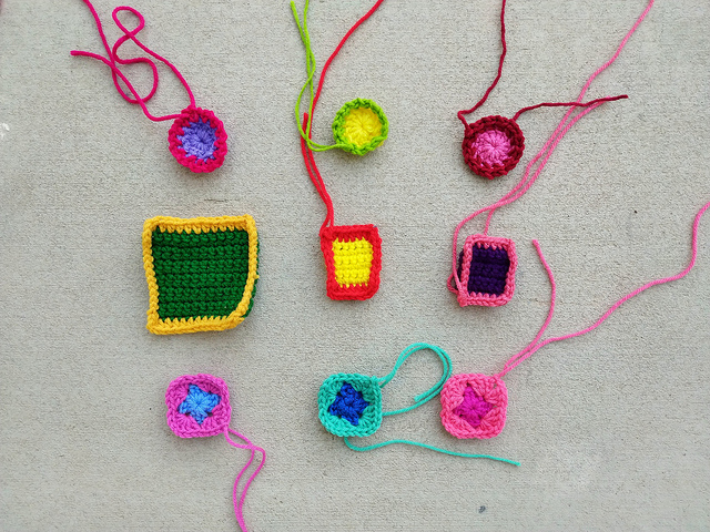 Nine crochet remnants one round in to their crochet rehab