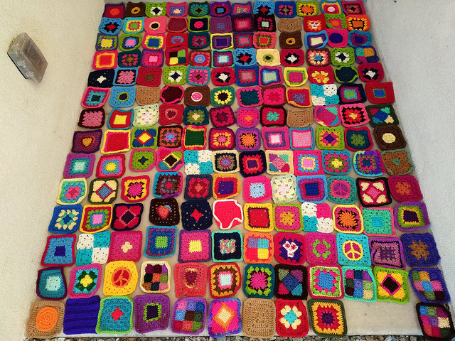 One hundred and sixty-six crochet squares