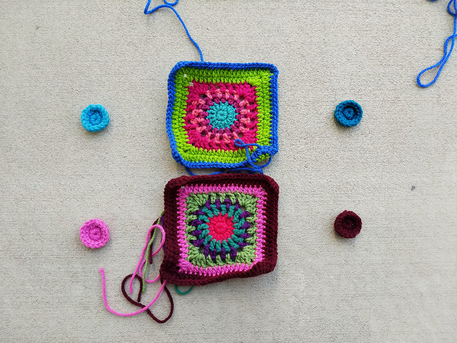 Squares and future squares for a crochet purse