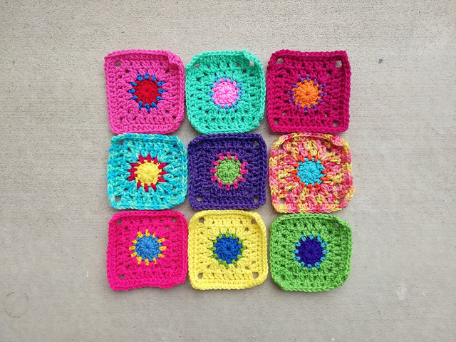 A new nine patch of rehabbed crochet remnants