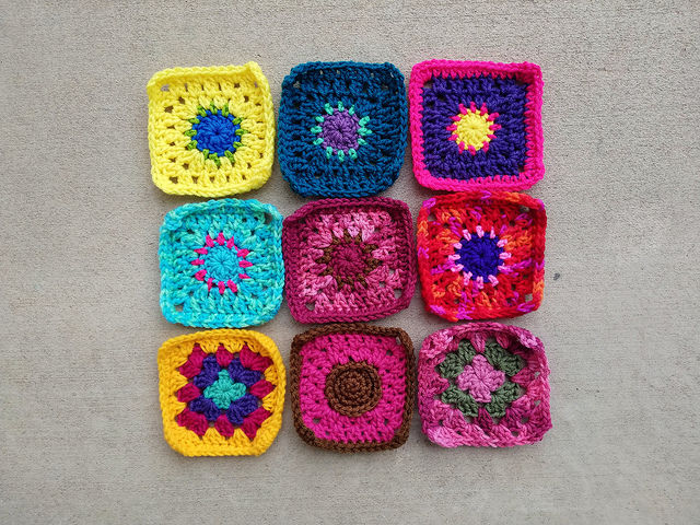 The first nine patch of the crochet remnants I have been juggling