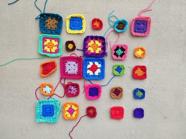 Modest progress on my five by five crochet remnant rehab array