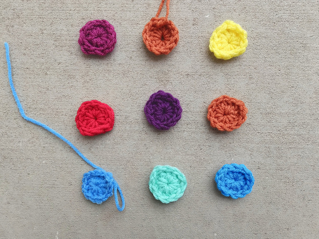 Nine more crochet remnants waiting to be rehabbed