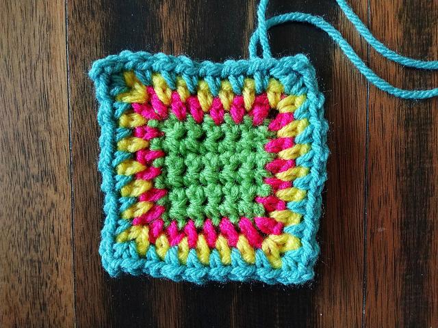 The progress of one rehabbed crochet remnant