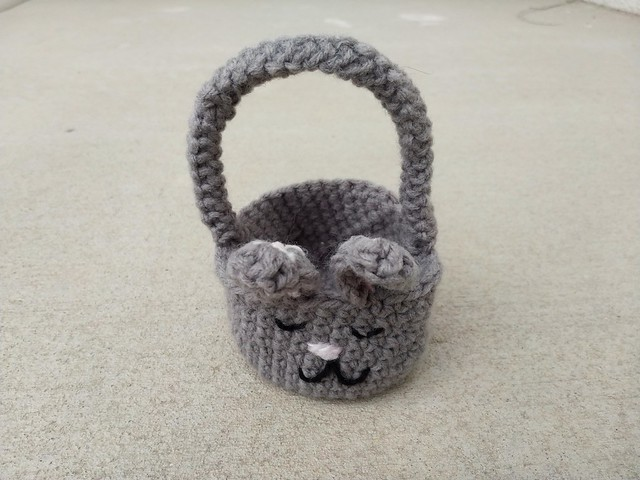 A finally finished Easter bunny crochet basket completed while battling a cold